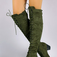 Over The Knee Lace Up Almond Toe Chunky Boots
