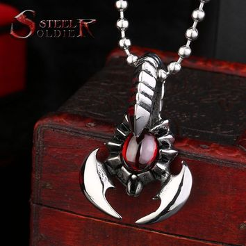 steel soldier new arrival men stainless steel red stone scorpion pendant fashion personality necklace pendant men charm jewelry
