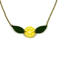 Yellow lemon slice necklace with green leaves, citrus necklace, gourmand necklace, painted plastic (recycled CD) fruit necklace
