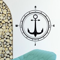 Wall Decal Vinyl Sticker Wind Rose Compass Anchor Travel Geography Decor Sb413