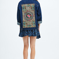 Native Rose Tattoo Embroidered Denim Jacket - Urban Outfitters