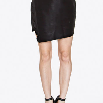 Leather Scallop Wrap Skirt