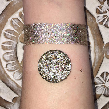 Holographic starstruck pressed glitter eyeshadow, silver gold, 26mm magnetic pan or jar