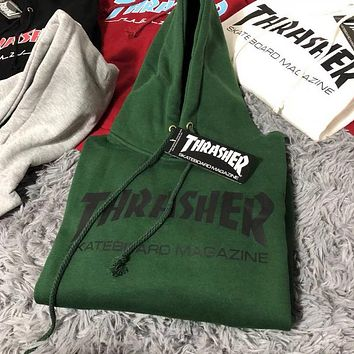 Thrasher Autumn Winter Fashionable Leisure Print Long Sleeve Hooded Sweater Top Sweatshirt Green