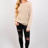 Can't Stop Criss Cross Sweater - Natural Combo