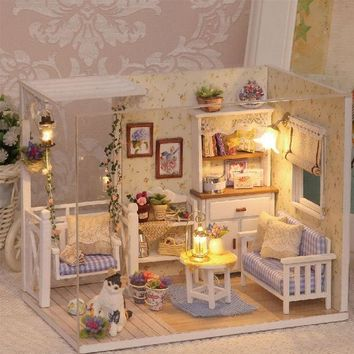 ICIK272 Doll House Furniture Diy Miniature Dust Cover 3D Wooden Miniaturas Dollhouse Toys for Children Birthday Gifts Kitten Diary