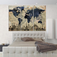 large canvas wall art blue world map wall art print set of 3 pieces old map backgraund wall art framed  large abstract art q67