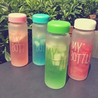 Keythemelife Water Bottles 500ml Frosted Leak-proof Health Portable tools Outdoor Sport Water Bottle Candy Color CF