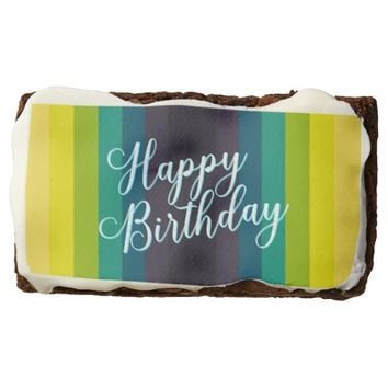 "Happy Birthday: Rectangle Brownies, 3.5"" x 2"" Chocolate Brownie"