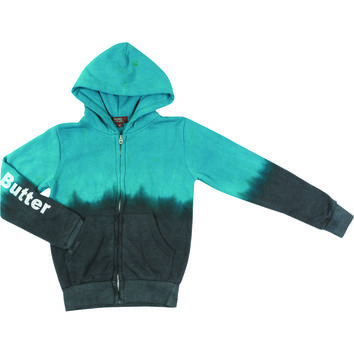 "Butter GIRLS ""FESTIVAL BEAR"" DIP DYE ZIP HOODIE - TEAL/CHARCOAL"
