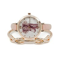 Rose Gold and Pink Elephant Watch & Infinity Bangle Set