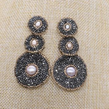 3 Round earrings with small pearl 3 black  round beads  dangle earrings drop earrings Gems stone jewelry 1186