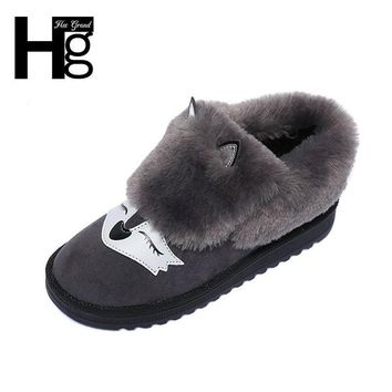 HEE GRAND Winter Snow Boots Black Grey Cute Fox Animal Faux Fur Plush Warm Soft Insole