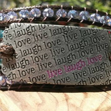 Five wrap bracelet live laugh love