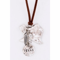 Texas Map Leather Necklace Silver