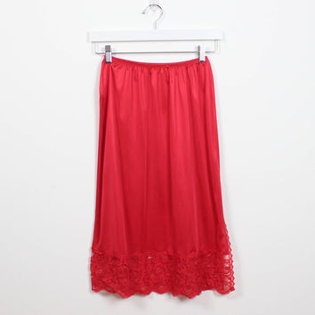 Vintage 1970s Slip Skirt Bright Cherry Red LACE Trim Side Slit Half Slip 1970s Elastic Waist Knee Length Lingerie Skirt Body Lites S Small