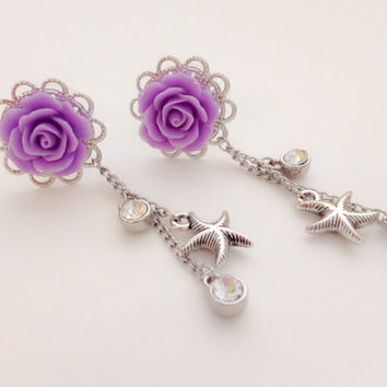 "9/16"" 14mm Dangle Plugs 0g Rose Plugs with Starfish and Crystals, Beach Wedding Plugs 1/2 inch 00g Dangle Gauges 20 Colors Body Jewelry"