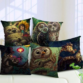 Cartoon Owl Cotton Linen Pillowcase Romantic Couple Giraffe Car Sofa Waist Cushion Cover Home Decor