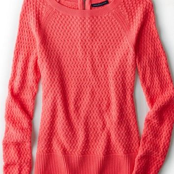 AEO Women's Zip Back Crew Sweater (Neon Runner Pink)