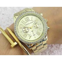 MK Michael Kors Stylish Two Eye Diamond Quartz Movement Watches Wristwatch Gold I-Fushida-8899