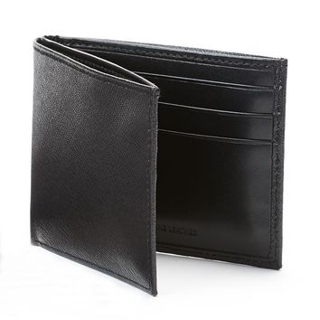 Apt. 9 Saffiano Leather Bifold Wallet - Men (Black)