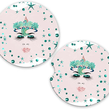 Mermaid Face Car Cup Coaster Glitter, Personalized Monogrammed Cup Holder Coaster, Custom Auto Gift, Sandstone Coaster, gift for her