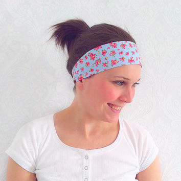 Blue Pilates Headband, Workout Headband, Fitness Headband, Running Headband, Bohemian Headband, Fashion Accessory, Teen Gift Ideas
