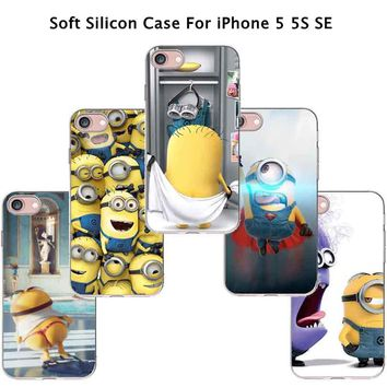 Top Luxury Cute Silicon Cover Yellow Minion Case For Apple iPhone 5 iPhone 5S iPhone5S Phone Cases Shell Hot New