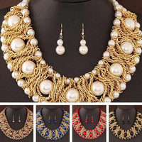 For New Hot Golden Beads African Fashion Women Boutique Jewelry Sets
