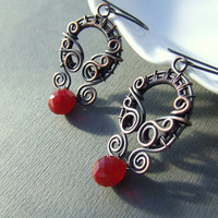 Red copper earrings, art nouveau styled earrings, deep red glass drop and antiqued copper jewelry