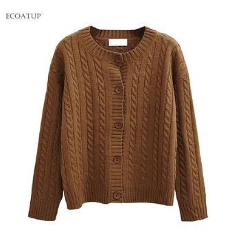 Women Cardigan  Fall Fashion Twist Chunky Cable Knitted Outwear Winter Solid Color Single Breasted Sweater Female Cardigans