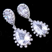 Wedding Earrings Tear Drop CZ Sterling Silver Bridal Prom Brides - Wedding Jewelry | Handmade