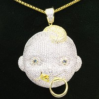 Men's Custom Lil Baby 3D Face Rapper Iced Out Pendant Chain