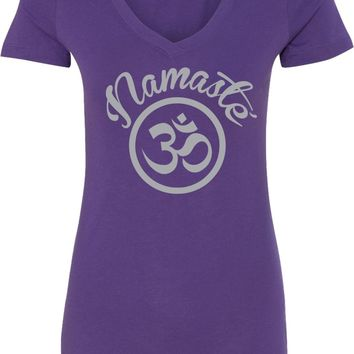 Womens Yoga T-shirt Namaste Om Blended V-neck