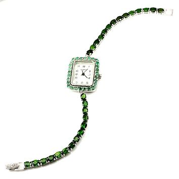 An Italian 14K White Gold Mother of Pearl Face Natural 132.83TCW Green Emerald Ladies Watch