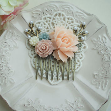 Pink, Taupe, Grey Blue Flower Comb. Pink Rose, Ivory, White, Pearl, Leaf Antiqued Brass Comb. Bridesmaids Gift, Bridal. Pink Rustic Wedding