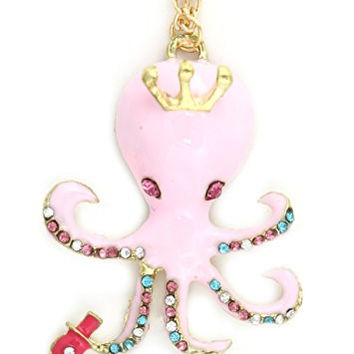 Queen Octopus Necklace Pink Crystal NS27 Aquatic Coral Reef Steampunk Ocean Pendant Fashion Jewelry