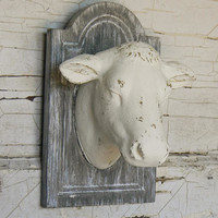 Faux Taxidermy, Faux Cow Head, Painted Cow Head, Cow Head Wall Mount, French Country Cow Head, Cow Head, Kitchen Decor, Country Kitchen