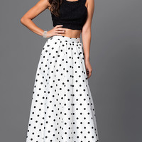 Long Polka Dot Two Piece Dress