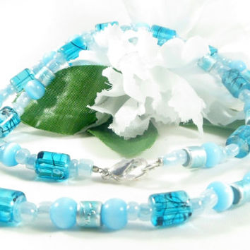 Blue necklace, 20 inch necklace, beaded jewelry, resin necklace, ocean blue jewelry, beaded necklace, beach jewelry, gifts for her