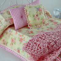Dollhouse Bedspread Miniature 1:12 Scale Pink Floral Coverlet with Matching Decorator Pillows Shadowbox Bed Linen Fantasy Whimsical Fun Gift