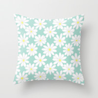 Bright Happy Daisies on Mint Throw Pillow by Perrin Le Feuvre | Society6