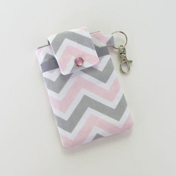 Chevron iPhone Case, Gray and Pink Chevron Cell Phone Cozy, HTC, Droid - PREORDER