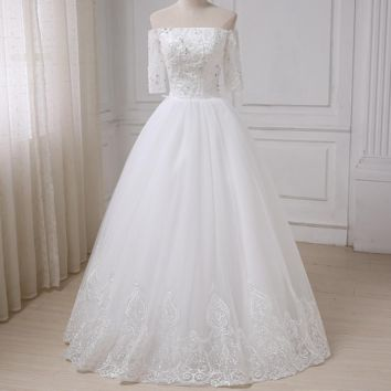 Boat Neck Half Sleeves Wedding Dress Beading Sequins Floor Length A-line Tulle Bridal Wedding Gowns