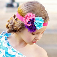 Sequins Bow Triple Shabby Flower Collection Headbands