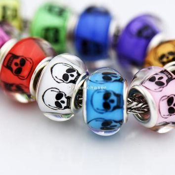 Charms 50Pcs/Lot Mixed Color Smooth Plastic Acrylic Skull for Pandora European Bracele