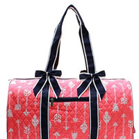 Arrrow Print Quilted Duffel Bag - 4 Color Choices