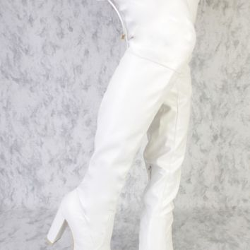 White Round Pointy Toe Thigh High Single Sole Chunky High Heel Faux Leather Ami ClubWear Boots