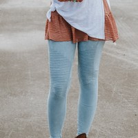 Rock + Roll Moto Knee Jeggings - Ice Blue