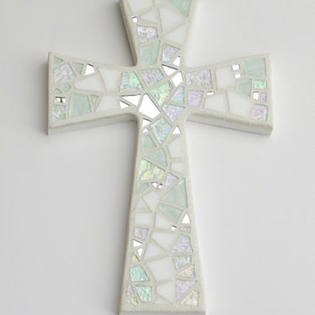 "Mosaic Wall Cross, Shades of White + Iridescent Glass + Silver Mirror, Handmade Stained Glass Mosaic Design 12"" x 8"""